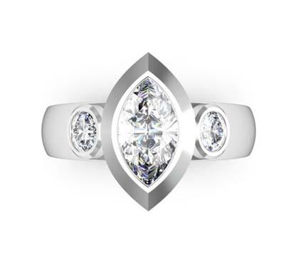Unique Marquise Diamond Beveled Bezel Set Engagement Ring 2 2