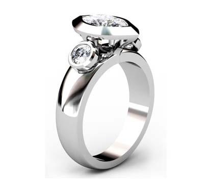 Unique Marquise Diamond Beveled Bezel Set Engagement Ring 4 2