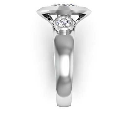 Unique Marquise Diamond Beveled Bezel Set Engagement Ring 5 2