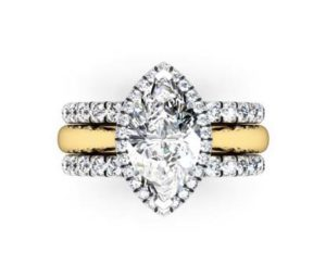 Unique Marquise Diamond Halo Mixed Metal Engagement Ring 2 2