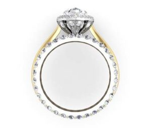 Unique Marquise Diamond Halo Mixed Metal Engagement Ring 3 2
