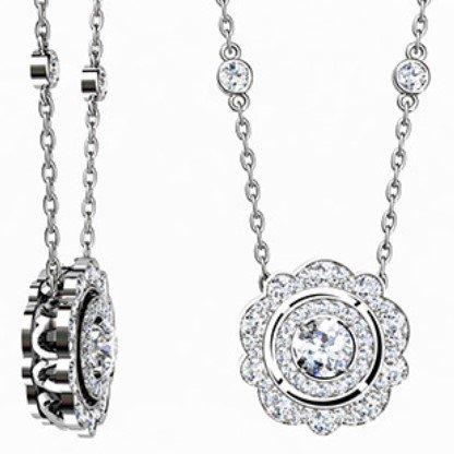 Vintage Double Halo Diamond Necklace 1 1