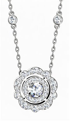 Vintage Double Halo Diamond Necklace 2 2