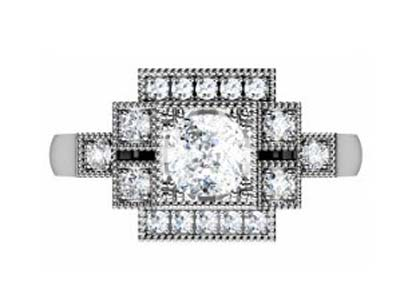 Vintage Style Boxed Round Diamond Engagement Ring 2 2