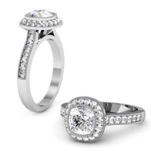Vintage Style Cushion Cut Diamond Halo Bezel Set Engagement Ring 1 2