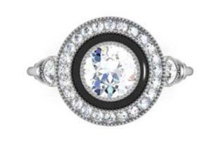 Vintage Style Diamond Ring with Onyx Inlay 2 2