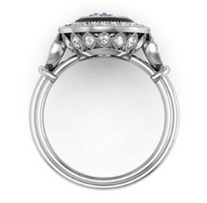 Vintage Style Diamond Ring with Onyx Inlay 3 2