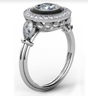 Vintage Style Diamond Ring with Onyx Inlay 4 2