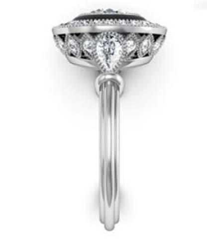 Vintage Style Diamond Ring with Onyx Inlay 5 2