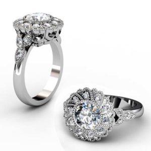 Vintage Style Round Brilliant Cut Diamond Petal Motif Engagement Ring 1 2