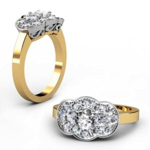 Vintage Style Round Brilliant Cut Diamond Yellow Gold Cluster Engagement Ring 1 2