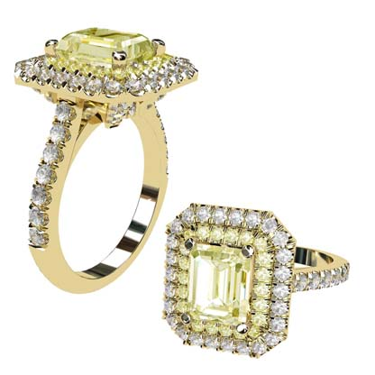Yellow Diamond Emerald Cut Double Halo Yellow Gold Engagement Ring 1 1