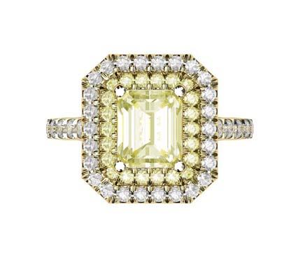 Yellow Diamond Emerald Cut Double Halo Yellow Gold Engagement Ring 2 2