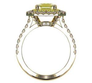 Yellow Diamond Emerald Cut Double Halo Yellow Gold Engagement Ring 3 2