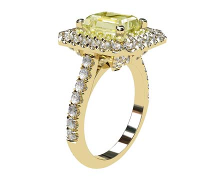 Yellow Diamond Emerald Cut Double Halo Yellow Gold Engagement Ring 4 2