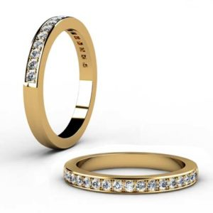 Yellow Gold Pave Set Diamond Half Eternity Band 1