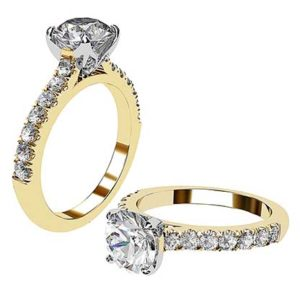 Yellow Gold Round Diamond Ring with Diamond Band 1 2