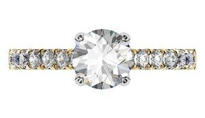Yellow Gold Round Diamond Ring with Diamond Band 2 2