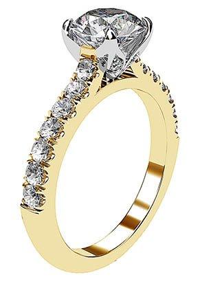 Yellow Gold Round Diamond Ring with Diamond Band 4 2