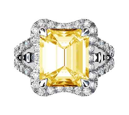 Yellow Sapphire and Diamond Ring 2 3