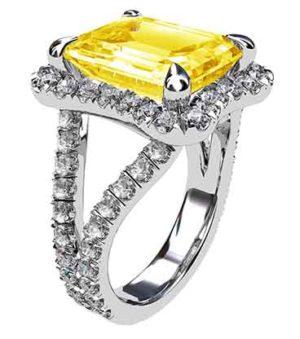 Yellow Sapphire and Diamond Ring 4 3