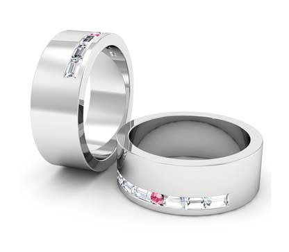 baguette and pink diamond wedding ring 1