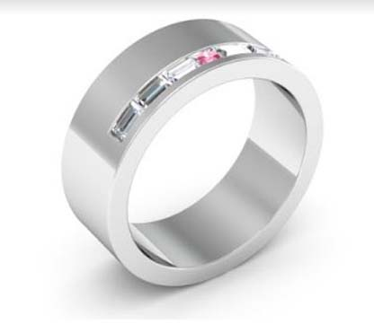baguette and pink diamond wedding ring 4