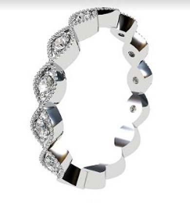 eclipse shape half diamond bead set wedding ring 4