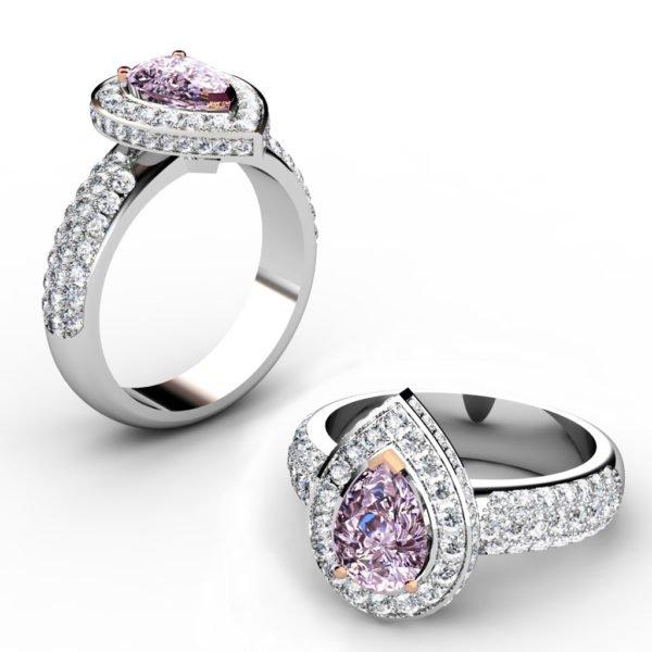 1Ct Pear Shaped Pink Diamond Cobblestone Engagement Ring 1