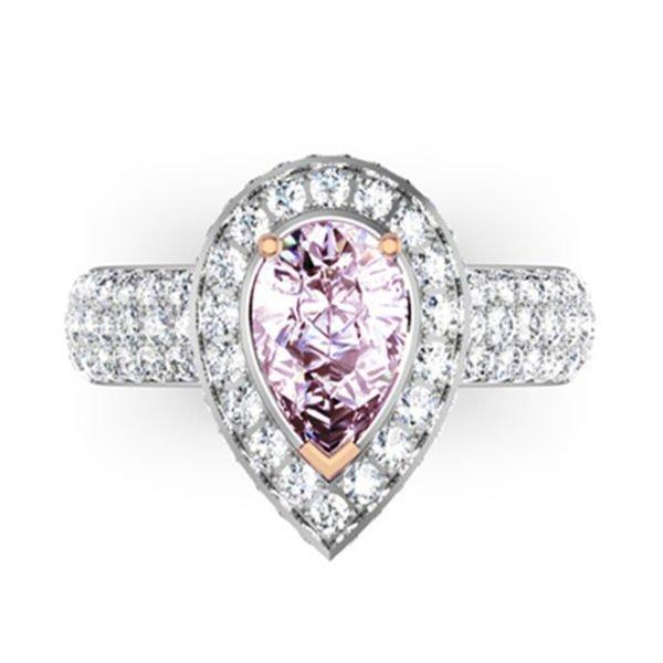 1Ct Pear Shaped Pink Diamond Cobblestone Engagement Ring 2