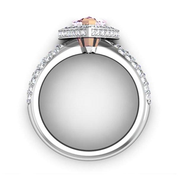 1Ct Pear Shaped Pink Diamond Cobblestone Engagement Ring 3