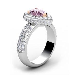 1Ct Pear Shaped Pink Diamond Cobblestone Engagement Ring 4