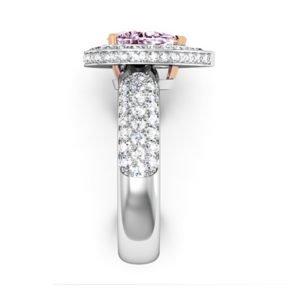1Ct Pear Shaped Pink Diamond Cobblestone Engagement Ring 5