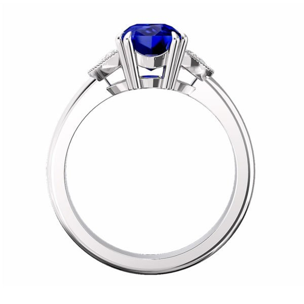Blue Sapphire Engagement Ring with Side Half Moon shaped Diamonds 3