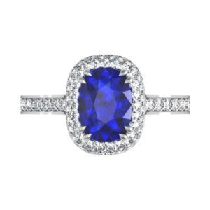 Cushion Cut Blue Sapphire Engagement Ring with Micro Pave Set Halo 2