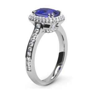 Cushion Cut Blue Sapphire Engagement Ring with Micro Pave Set Halo 4