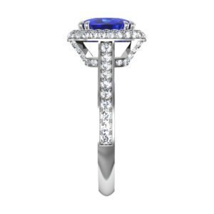 Cushion Cut Blue Sapphire Engagement Ring with Micro Pave Set Halo 5