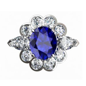 Oval Blue Sapphie Engagement Ring Clustered within Diamond Petals 2