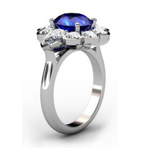 Oval Blue Sapphie Engagement Ring Clustered within Diamond Petals 4