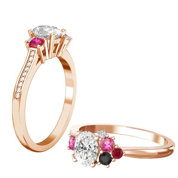 Oval Diamond Engagement Ring with Sapphire Ruby and Black Diamond as Accents 1