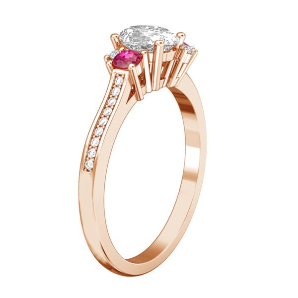 Oval Diamond Engagement Ring with Sapphire Ruby and Black Diamond as Accents 4