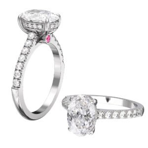 Oval Diamond Hidden Halo Engagement Ring with Pink Diamond 1