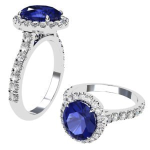 Oval Shaped Blue Sapphire Halo Engagement Ring with Diamond Band 1