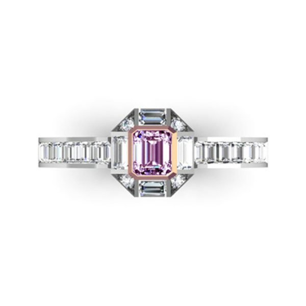 Radiant Pink Diamond Engagement Ring with Baguette and Round Diamond Accents 2
