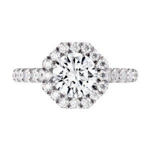Round Diamond Halo Engagement Ring with Sapphire detailing 2